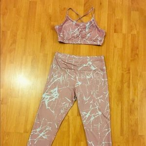 Pink Marble style Sports bra and leggings